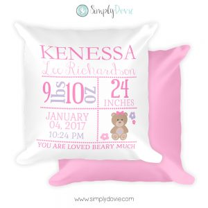 Bear Newborn Pillow with Birth Stats