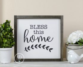 Bless This Home Rustic Frame White Sign, Farmhouse Sign,Rustic Sign