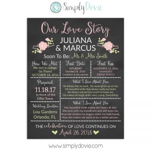 Blush Pink Rose Bridal Shower Sign, Wedding Sign, Our Love Story Sign