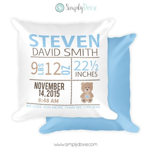 Boy Bear Newborn Pillow with Birth Stats
