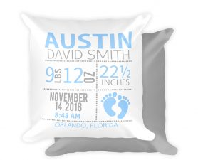 Footprint Birth Stats Pillow, Footprint Nursery Pillow, Personalized Baby Pillow