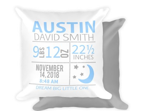 Boy Moon and Stars Birth Stat Pillow