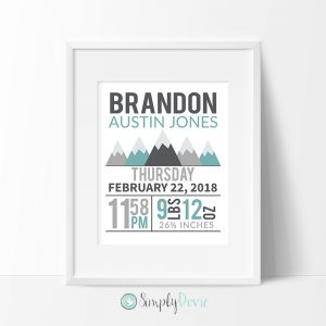 Mountains Birth Stats Print, Mountains Nursery Decor, Adventure Awaits Print, Mountains Birth Details