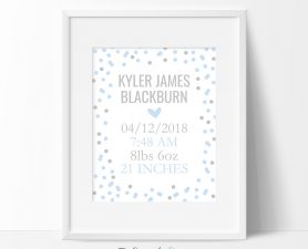 Boy Polka Dot Birth Stats Sign, Boy's Birth Announcement Sign
