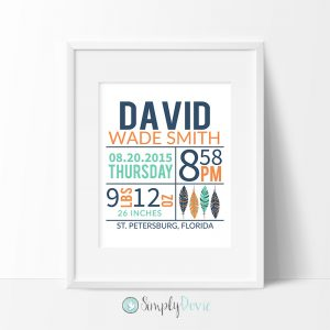 Tribal Feathers Birth Print, Tribal Nursery Decor, Tribal Birth Stats