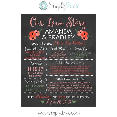 Floral Peach Bridal Shower Chalkboard Sign, Wedding Sign, Our Love Story Sign, Wedding Sign