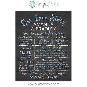 Light Blue Bridal Shower Chalkboard Sign, Wedding Sign, Our Love Story Sign