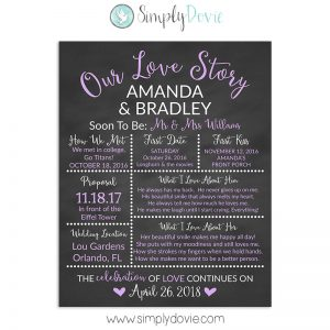 Light Purple Bridal Shower Chalkboard Sign, Wedding Sign, Our Love Story Sign