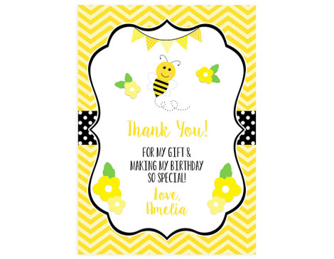 bumble bee,thank you,card,birthday,party,bumblebee
