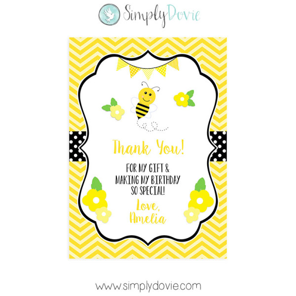 Bumble Bee Birthday Thank You Card – Thank You Card Birthday