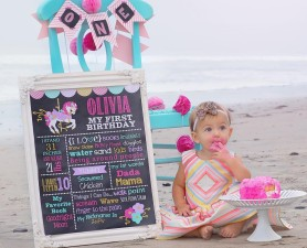Carousel First Birthday Chalkboard Sign