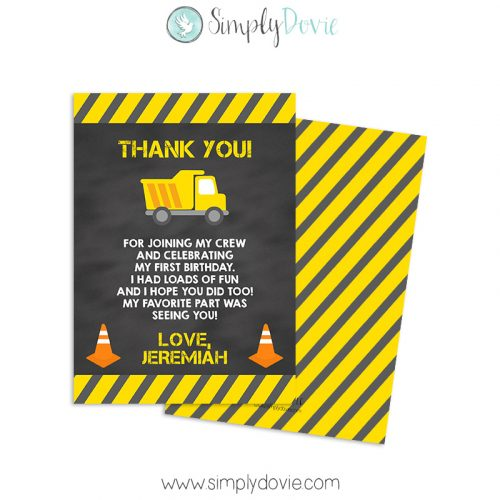 Construction Birthday Thank You Card, Construction Birthday, Dump Truck Birthday Thank You Card, Dump Truck Thank You