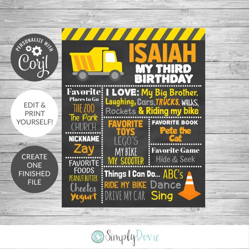 DIY Editable Construction Birthday Chalkboard Sign Template