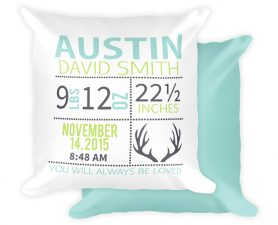 Deer Newborn Birth Stat Pillow, Deer Nursery Decor,Newborn, Birth Stat,Pillow