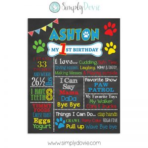 Dog Paw Birthday Chalkboard - Paw Patrol Birthday