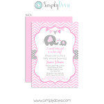 Elephant Girl Baby Shower Invitation
