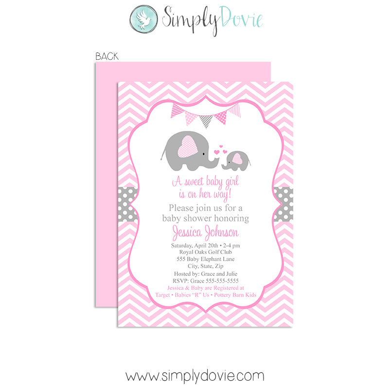 Elephant baby shower invitation girl filmwisefo Images