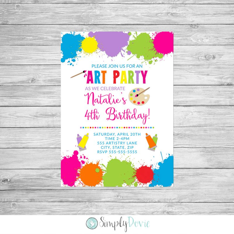 Art birthday invitations art birthday party invitation art birthday party invitation stopboris