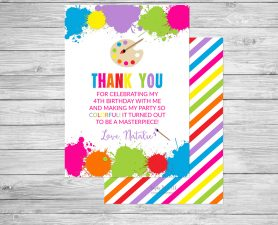 Art Birthday Thank You Card