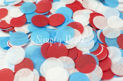 Red, Turquoise and White Confetti