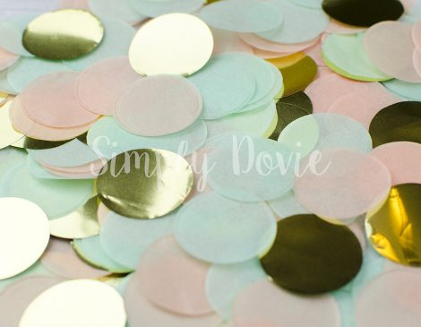 Peach, Mint, Gold Confetti