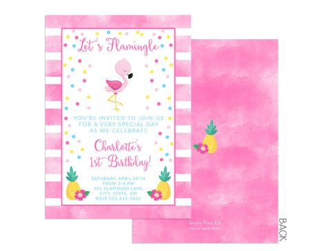 Flamingo 1st Birthday Invitation