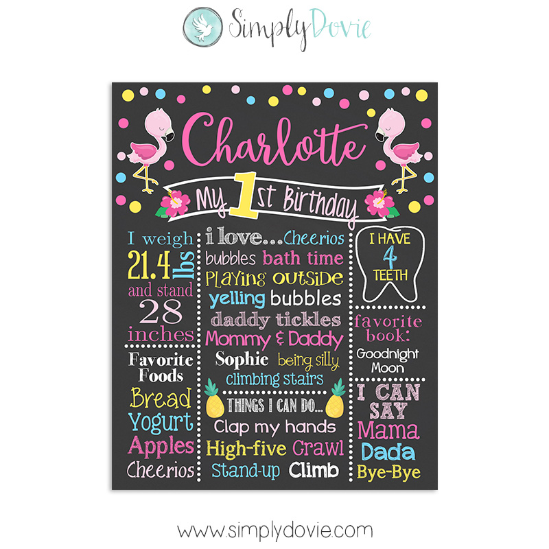 Flamingo First Birthday Chalkboard Sign