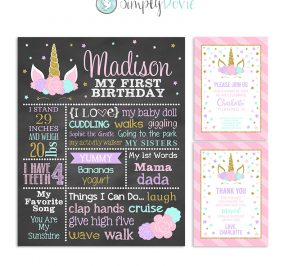 Floral Unicorn Birthday Bundle - Unicorn Birthday, Unicorn Invitation, Unicorn Thank You Card