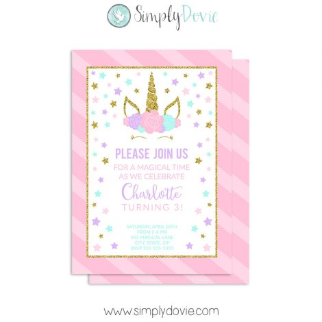 Floral Unicorn Birthday Invitation