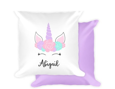 Customized Floral Unicorn Pillow, Unicorn Bedding, Personalized Unicorn Gift, Unicorn Gifts, Unicorn Pillow