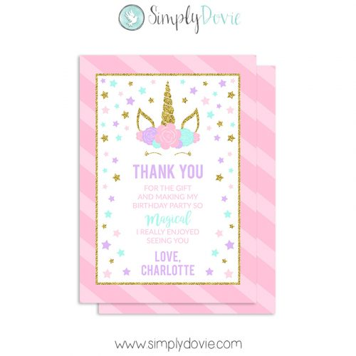 Floral Unicorn Thank You Card