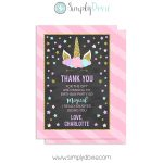 Floral Unicorn Thank You Card Chalkboard