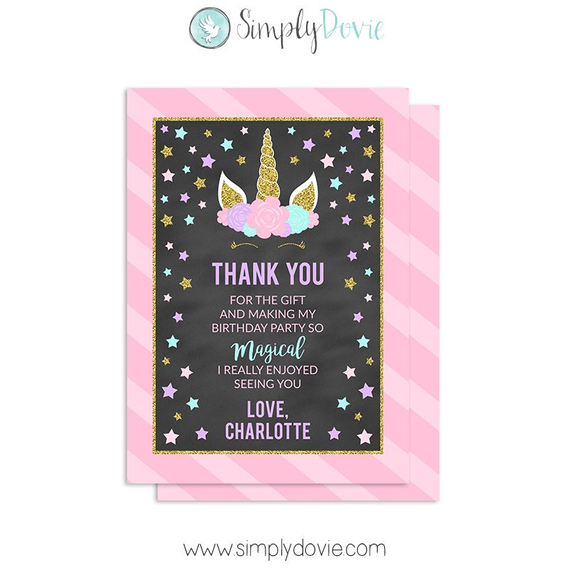 floral unicorn thank you cards