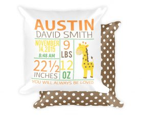 Personalized Giraffe Newborn Birth Stats Pillow, Birth Announcement Pillow, Giraffe Nursery Pillow