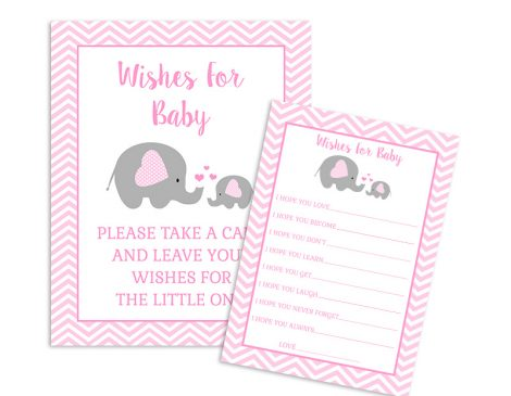 Elephant Baby Shower Wishes For Baby - Girl