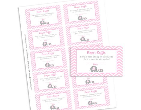Elephant Baby Shower Diaper Raffle Tickets - Girl