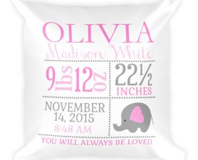 Personalized Elephant Newborn Birth Stats Pillow, Birth Announcement Pillow, Elephant Nursery Pillow