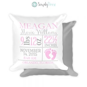 Girl Footprint Birth Stats Pillow