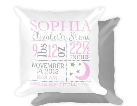Girl Moon & Stars Birth Stats Pillow, Moon & Stars Nursery Pillow, Personalized Baby Pillow