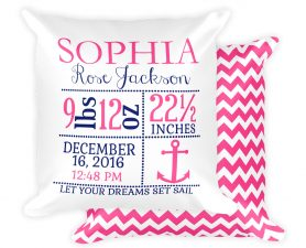Girl Nautical Anchor Birth Announcement Pillow