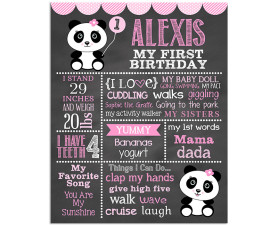panda bear,panda,first birthday,birthday chalkboard,chalkboard signs,birthday,party,decorations,decor,panda themed birthday
