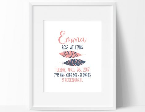 Tribal Birth Stats Print, Tribal Birth Print, Tribal Birth Sign, Tribal Nursery Decor