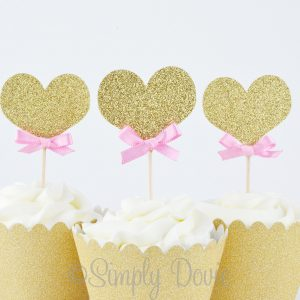 old Glitter Heart Cupcake Toppers