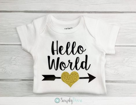 Hello world newborn onsie