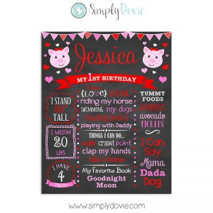 Hogs & Kisses Birthday Chalkboard