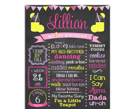 Lemonade Birthday Chalkboard,lemonade,birthday,party,chalkboard,sign,poster,milestones,favorite things,party
