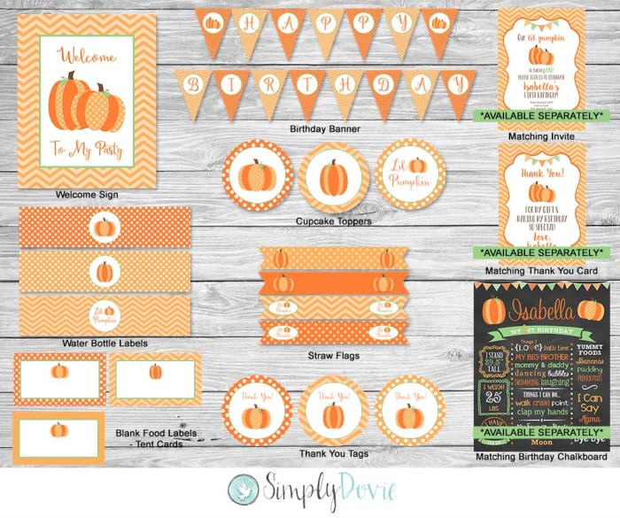Lil Pumpkin Banner Etsy Birthday Pack