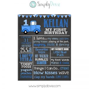 Little Blue Truck Birthday Chalkboard