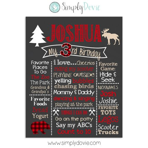 Lumberjack Buffalo Plaid Birthday Chalkboard Sign