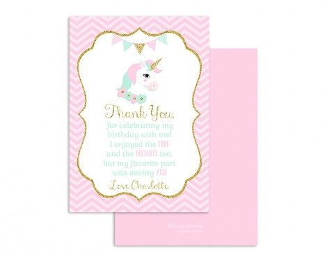 Magical Unicorn Birthday Chalkboard Thank You Card